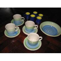 Tazas Cafe Con Leche, Pocillos Y Plato Bowl Para Galletitas
