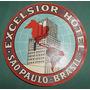 Antigua Etiqueta Valijas Hotel Excelsior Sao Paulo Brasil