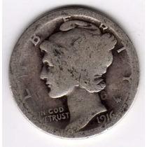Moneda Estados Unidos 10 Centavos Plata Mercury Año 1916