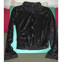Materia Camisa Negra De Chiffon C/textura Animal Print T 2 !