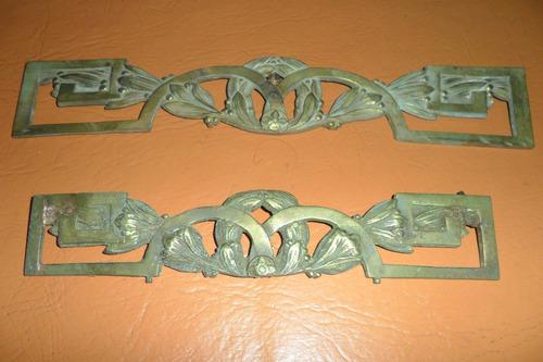 Antiguo juego apliques herrajes bronce para muebles 640 for Apliques de bronce para muebles