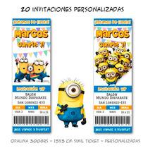 Minions Mi Villano Favorito - 20 Invitaciones De Cumpleaños