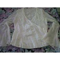 Camisa Blusa Cruzada Mangas De Gasa Talle M