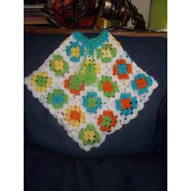 Poncho De Niña Tejido A Mano Al Crochet