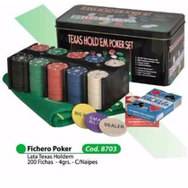 Set De Poker 200 Fichas + Cartas + Paño Oferta!