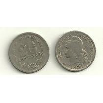 Moneda Argentina 20 Centavos Niquel Año 1931 Buena+