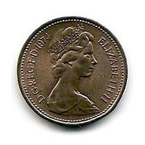 Inglaterra Moneda De Bronce 1 New Penny Año 1974