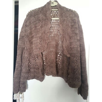 Saco 100/ Lana En Crochet Impecable T M Color Vison