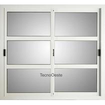 Ventana Aluminio Blanco Vidrio Repartido Horizontal 150x110