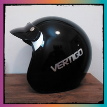 Casco Vertigo Basic Retro Negro Cafe Racer Custom $$$