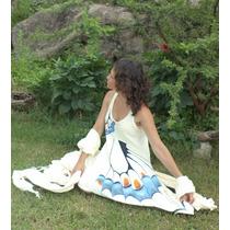 Vestido Picos Irregulares Artesanal Hippie Chic Pintado Orig
