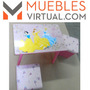 Mueble Infantil- Disney Mesa + 2 Puff Princesas