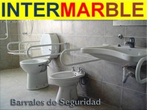 Inodoro alto espacio ferrum para ba o discapacitados for Agarraderas de bano