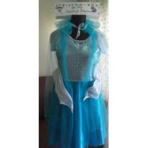 Disfraz Frozen Elsa Con Capa Y Guantes