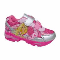 Zapatilla Velcro Con Luces Barbie Originales