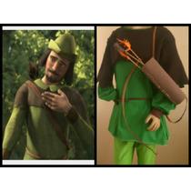 Disfraz Robin Hood. Pantalón Remera Chaleco Sombrero Arco