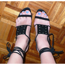 Sandalias Taco Alto De Cuero Gamuzado Nº38/37 Br