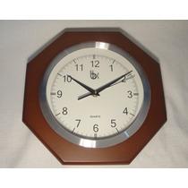 Moderno Reloj De Pared Octogonal Base Madera De 28 Cm
