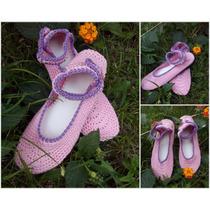 Guillerminas Tejidas Al Crochet Con Suela De Pvc. Artesanal