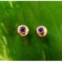 Aros Abridores Bolitas Oro 14 Kgoldfilled Amatistas Srilanka