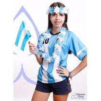 Celeste Y Blanco Collares Hawaianos X 10 Unidades