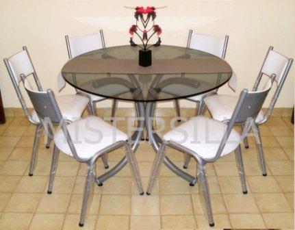 Juego comedor 6 sillas torre mesa de vidrio redonda for Sillas para mesa redonda