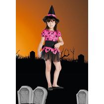 Disfraz Halloween Brujita Completo Fluor! Para Nena Jiujim