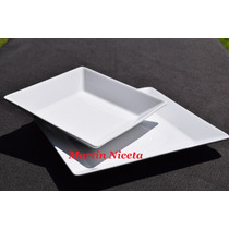 Plato Hondo Cuadrado Porcelana Oxford Brasil Blanco X6unida