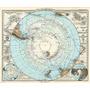 Cuadro De Mapa Antiguo, Polo Sur En Canvas/bastidor 113x95