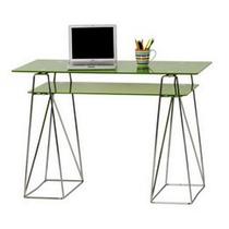 Escritorio Moderno Metal Vidrio Verde 110x55x76