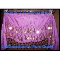 Caderín Danza Árabe Ondulado Gasa Crochet 3 Filas Monedas