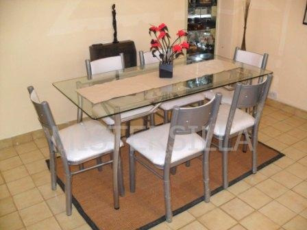 Juego comedor 6 sillas new forte mesa vidrio rect 140x80 for Juego de comedor de vidrio