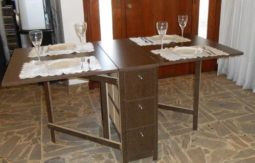 Mesa plegable cocina comedor madera auxiliar melamina a for Mesa con cajones para cocina