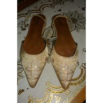 Zapatos Chatitas Doradas Bordadas Numero 40