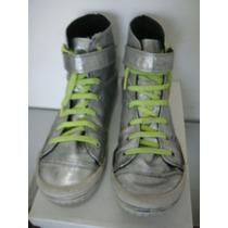 Zapatillas Botineta Acordonada 41 Eco-cuero Plateado