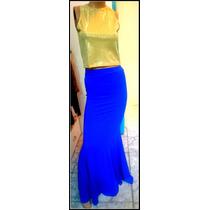 Pollera Larga Corte Sirena De Vestir En Negro Y Azul