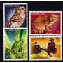 4 Estampillas De Luxemburgo Gato Mariposa Buho Rana Año 1985