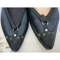 Sofi Martire Zapatos Nro 36 Cuero Vacuno Azul Y Negro Tachas