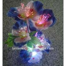 Lámpara Centro De Mesa De Fibra Óptica Con Flores De Colores