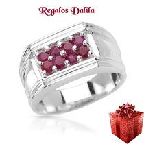 Anillo De Plata 925 Con Rubies Naturales Unisex Mira!!!