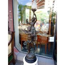 Figura Estatua Luminaria En Petit Bronce..mirala