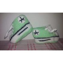 Zapatillas Simil All Star Para Bebé 0-3 Meses En Crochet