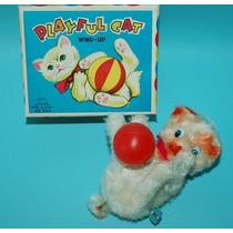Antiguo Gato A Cuerda Hecho En Japon 1960 Playful Cat