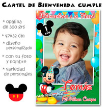 Mickey Mouse Cartel De Cumpleaños Bienvenida Con Foto Nombre