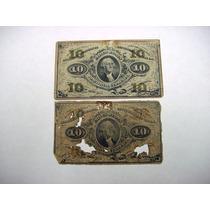 Ee.uu. 2 Antigüos Billetes De 10 Centavos De Dolar De 1863