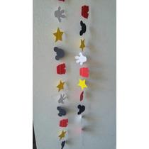 Guirnalda De Papel Cosidas Mickey Estrellas Corazones Nubes