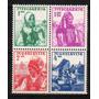 4 Estampillas De Yugoeslavia Tema Trajes Tipicos Año 1937