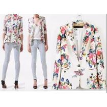 Exclusivo Blazer Saco Zara Floreado Importado Talle Xs