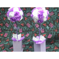 Centro De Mesa Con Flores De Papel Seda,topiarios,souvenirs
