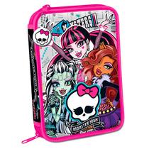 Cartuchera Escolar 2 Pisos Monster High Lic. Original Jiujim